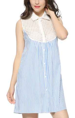 Trendy-Road-Style-Shop-Online-Woman-Fashion-Street-mini-dress-striped-lace-blue-white-turn-down-collar-sleeveless
