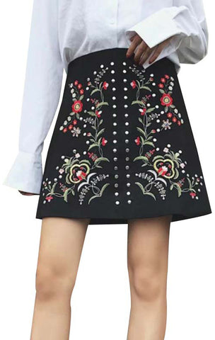 Trendy-Road-Style-Shop-Online-Woman-Fashion-Street-skirt-studded-suede-floral-embroidery-black