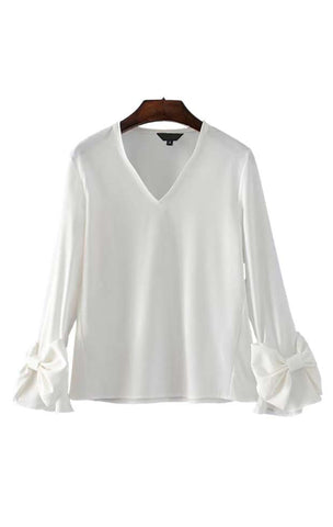 Trendy-Road-Style-Shop-Online-Woman-Fashion-Street-top-blouse-basic-vneck-flare-sleeve-white