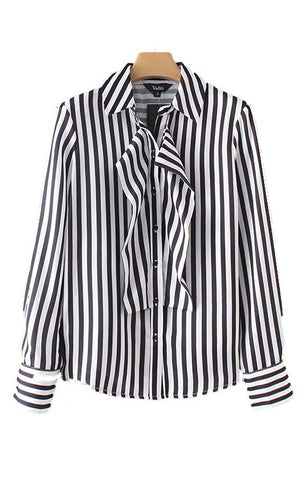Trendy-Road-Style-Shop-Online-Woman-Fashion-Street-top-blouse-black&white-turn-down-collar-striped-long-sleeve