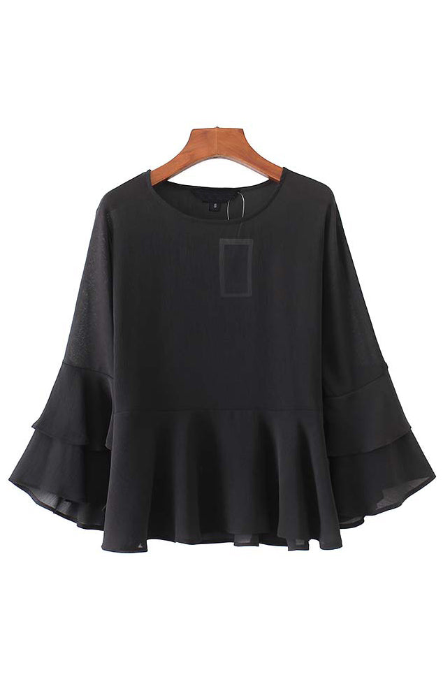 Trendy-Road-Style-Shop-Online-Woman-Fashion-Street-top-blouse-oneck-black-flare-sleeve