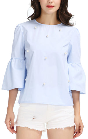 Trendy-Road-Style-Shop-Online-Woman-Fashion-Street-top-blouse-oneck-flare-sleeve-pearls-sky-blue