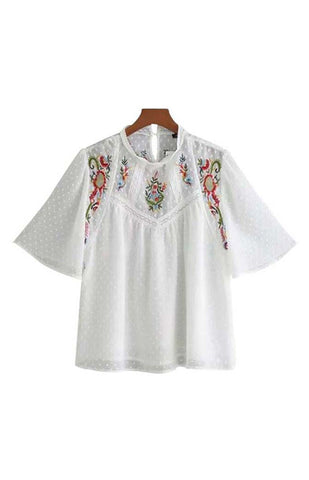 Trendy-Road-Style-Shop-Online-Woman-Fashion-Street-top-blouse-oneck-floral-embroidery-short-sleeve-chiffon-white
