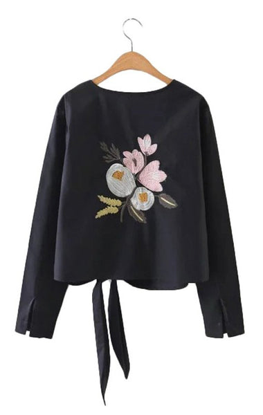 Trendy-Road-Style-Shop-Online-Woman-Fashion-Street-top-blouse-oneck-flower-embroidery-cotton-longsleeve-laceup-black