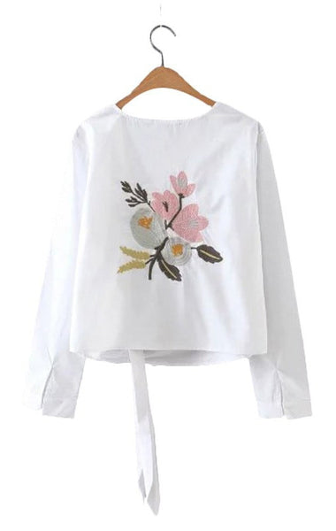 Trendy-Road-Style-Shop-Online-Woman-Fashion-Street-top-blouse-oneck-flower-embroidery-cotton-longsleeve-laceup-white