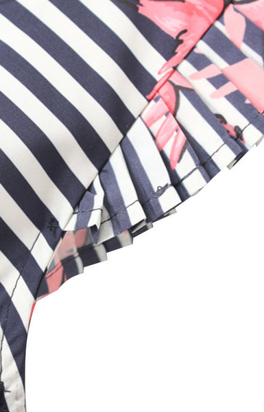 Trendy-Road-Style-Shop-Online-Woman-Fashion-Street-top-blouse-oneck-stripes-ruffles-crane-print-woven