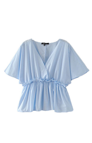 Trendy-Road-Style-Shop-Online-Woman-Fashion-Street-top-blouse-sky-blue-v-neck-ruffles-short-sleeve