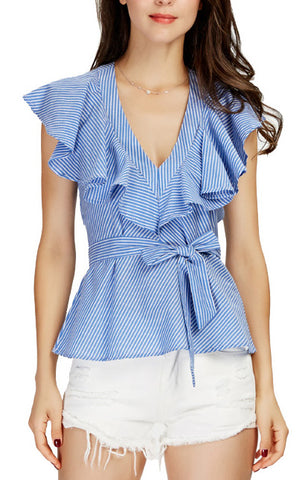 Trendy-Road-Style-Shop-Online-Woman-Fashion-Street-top-blouse-vneck-sleeveless-ruffles-striped-blue