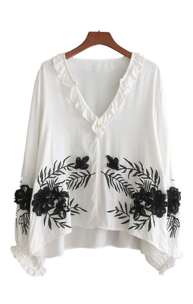 Trendy-Road-Style-Shop-Online-Woman-Fashion-Street-top-blouse-vneck-white-ruffles-embroidery-flowers