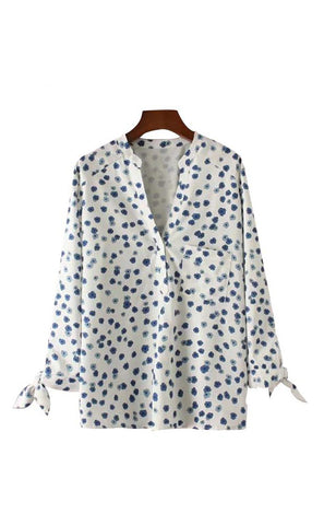 Trendy-Road-Style-Shop-Online-Woman-Fashion-Street-top-shirt-vneck-floral-white-blue-casualbow-tie-sweet