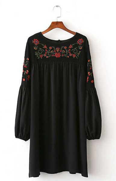 Trendy-road-style-fashion-women-shop-online-dress-flowers-embroidery-black-red-loose-vintage