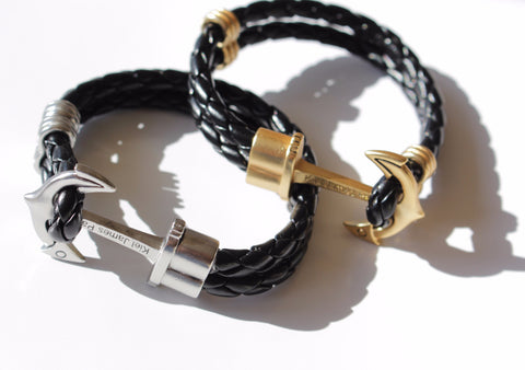 KJP real leather anchor bracelet hand twisted leather cord with brass/steel look