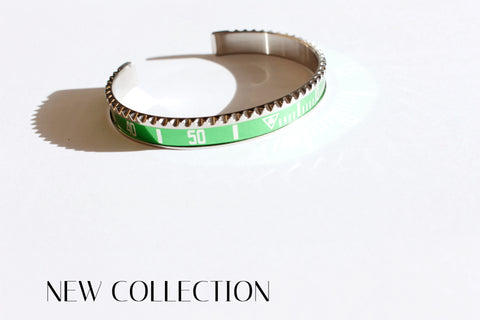 Marine steel bangle inspired by Milguss green/Submariner bezel