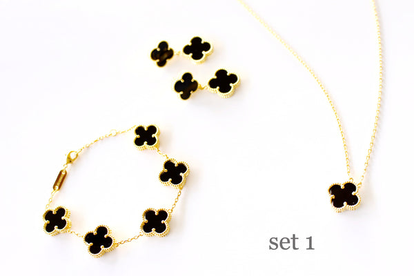 Four leaf clover black onyx gift set 18k gold plated