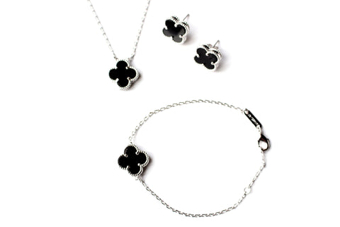 Four leaf clover full set 18k platinum plated mother of pearl / black onxy