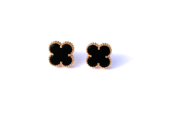 Lucky clover stud earrings 18k yellow gold plated