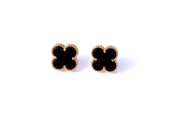 Four leaf clover full set 18k gold plated mother of pearl / black onyx