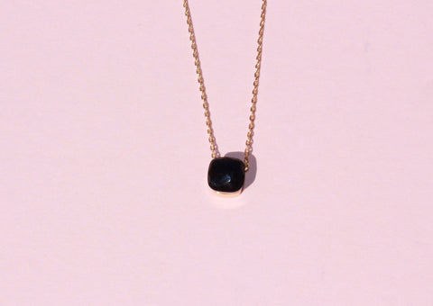18k gold plated onyx square necklace