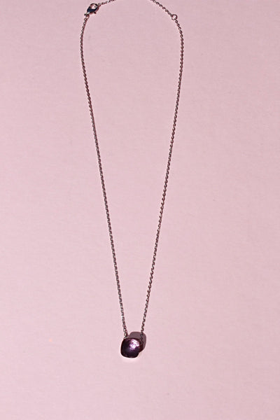 18k platinum plated amethyst square pendant necklace