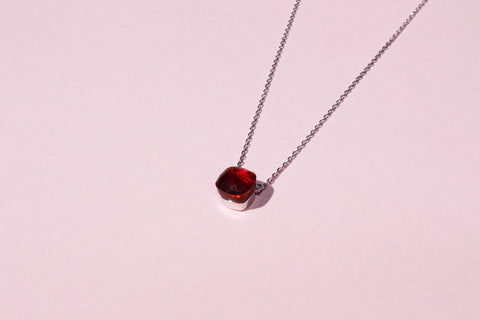 18k platinum plated garnet square stone necklace
