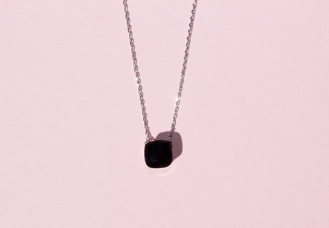 18k platinum plated black onyx square necklace