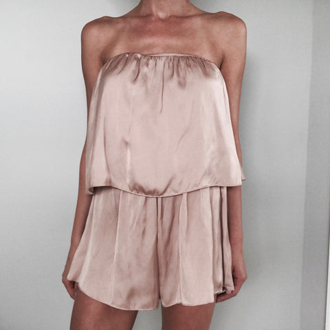 Strapless Champagne Layered Playsuit