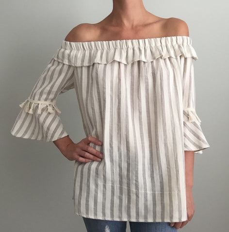 Grey and Ivory Ruffle and Fringe OTS Top