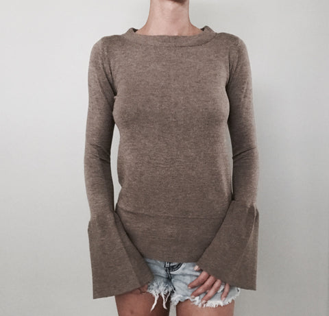 Brown Bell Sleeve Sweater