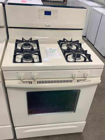 "WHIRLPOOL USED 30"" BISQUE NATURAL GAS STOVE $225 #45395"