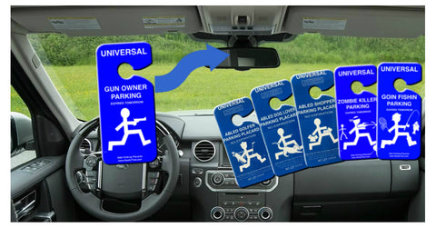 Novelty Rear-View Mirror Parking Placards