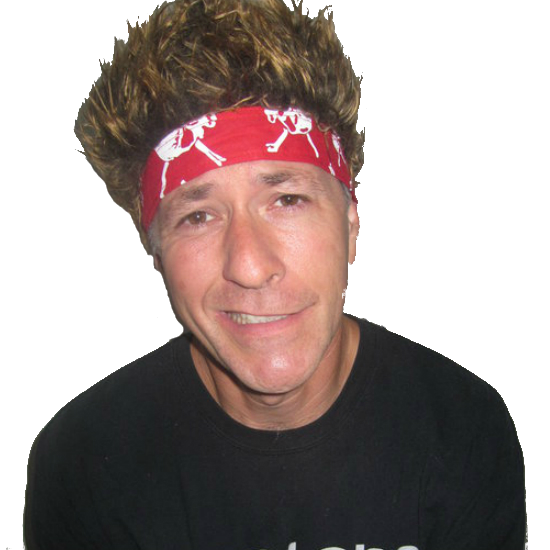 Bandana With Attitude - Brown Hair with Red Skull & Cross Bones Bandana