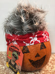 Bandana With Attitude - Silver Hair with Red Skull & Cross Bones Bandana