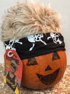 Bandana With Attitude - Blonde Hair with Black Skull & Cross Bones Bandana