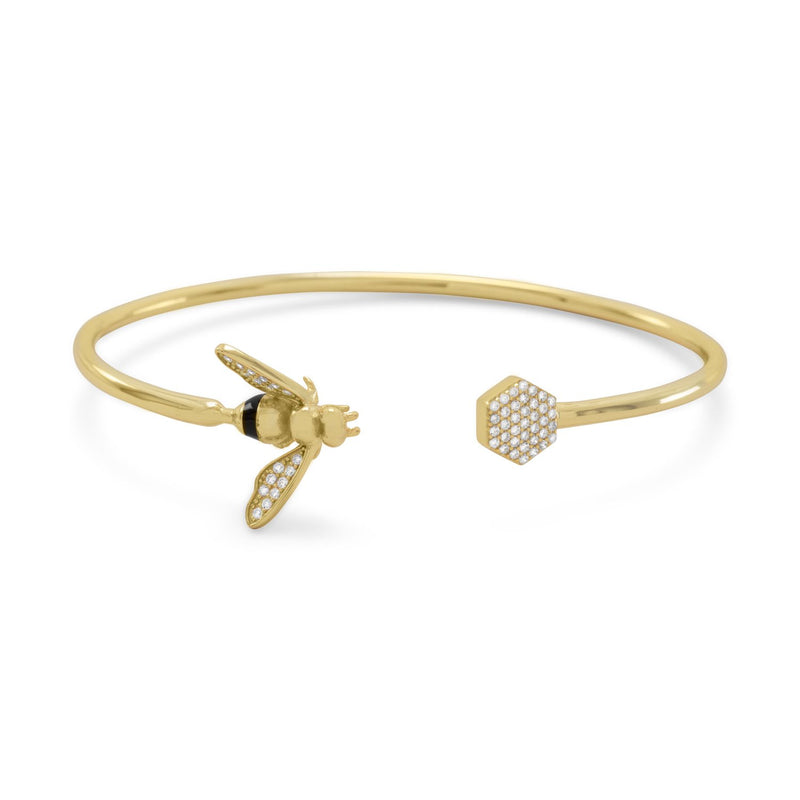 """BEE Mine!"" 14 Karat Gold Plated and Signity CZ Bee Flex Cuff"