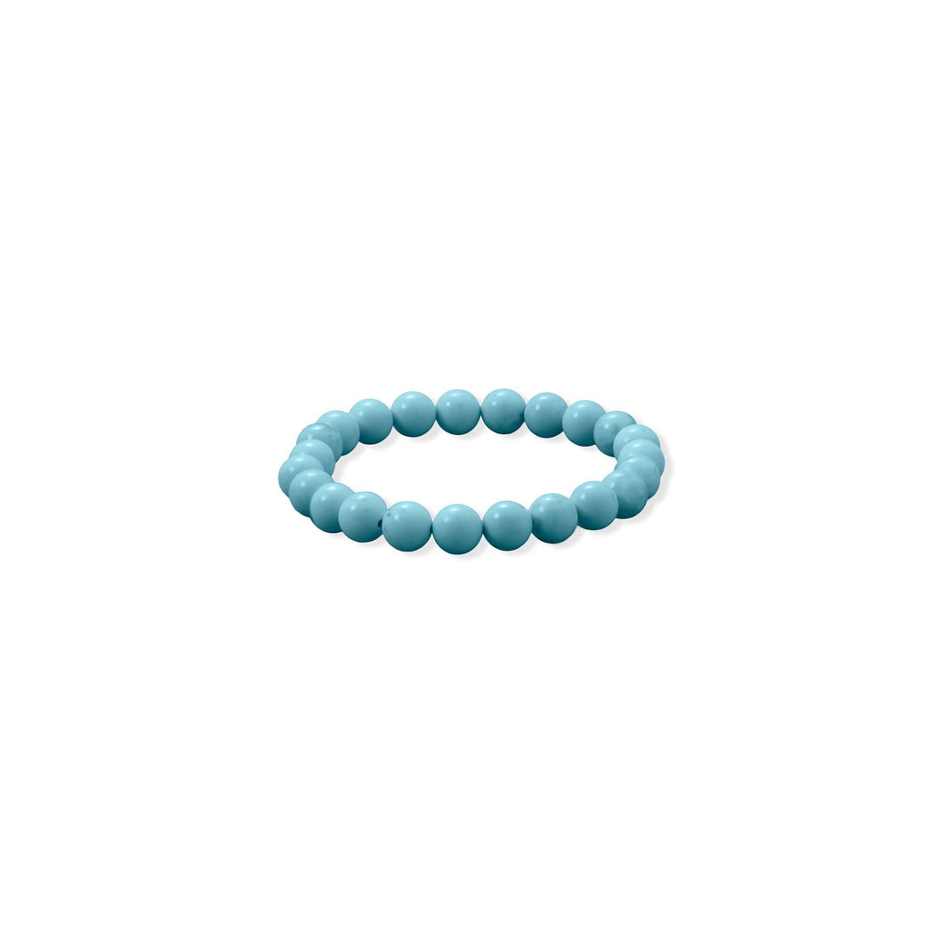 8mm Round Sky Blue Magnesite Stretch Bracelet