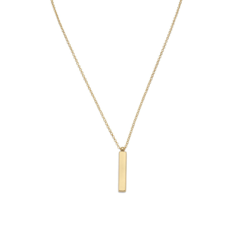 "18"" 14 Karat Gold Plated Drop Bar Necklace"