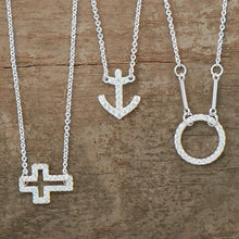 Load image into Gallery viewer, Delicate Sideways Cross Necklace with CZs