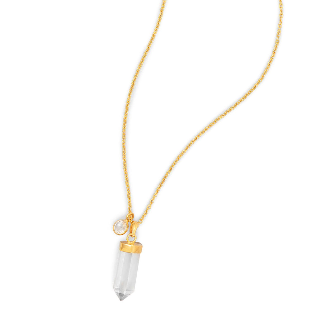 14 Karat Gold Plated Spike Pencil Cut Clear Quartz Necklace