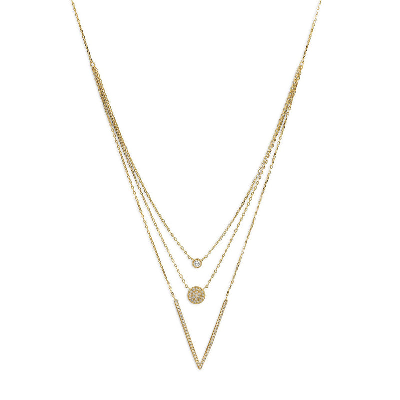 14 Karat Gold Plated Triple Strand Necklace with CZs
