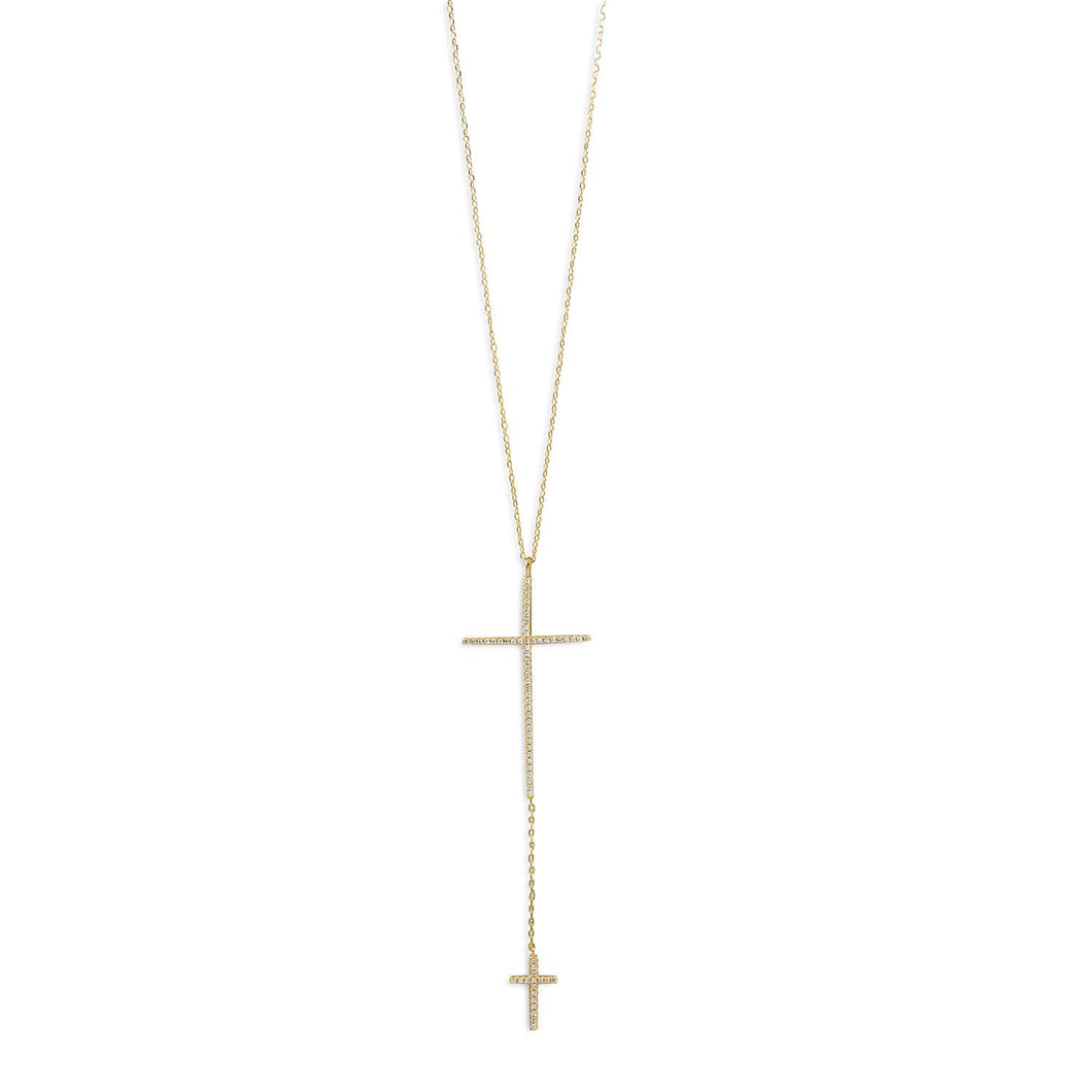14 Karat Gold Plated Necklace with Double CZ Cross Drop