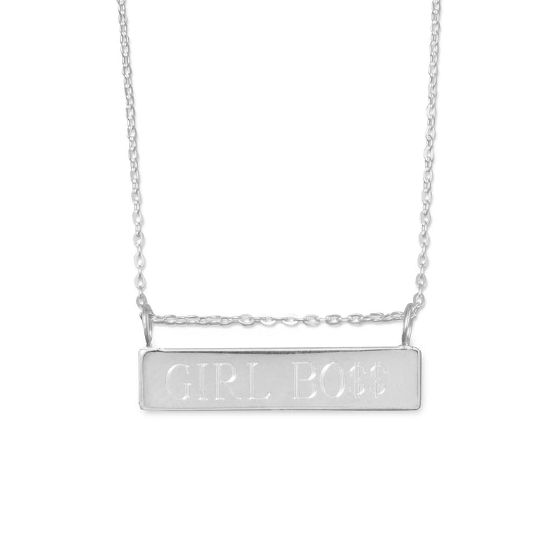 "16"" + 2"" Engravable Bar Nameplate Necklace"