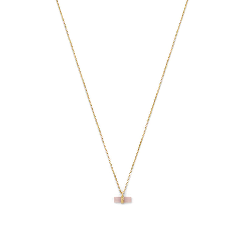 14 Karat Gold Plated Pencil Cut Rose Quartz Necklace