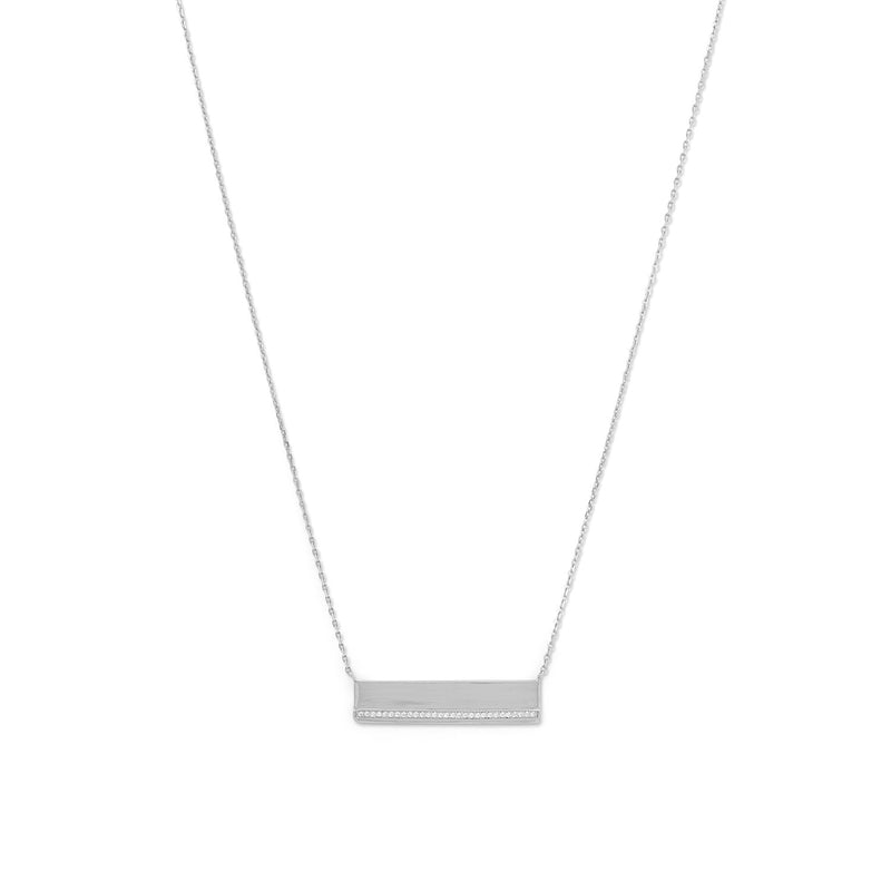 Rhodium Plated CZ Polished Bar Necklace