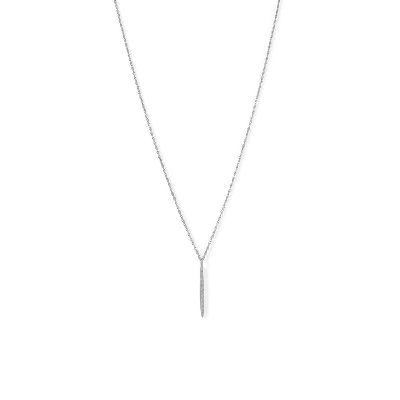 Rhodium Plated Vertical Bar Necklace with Diamonds