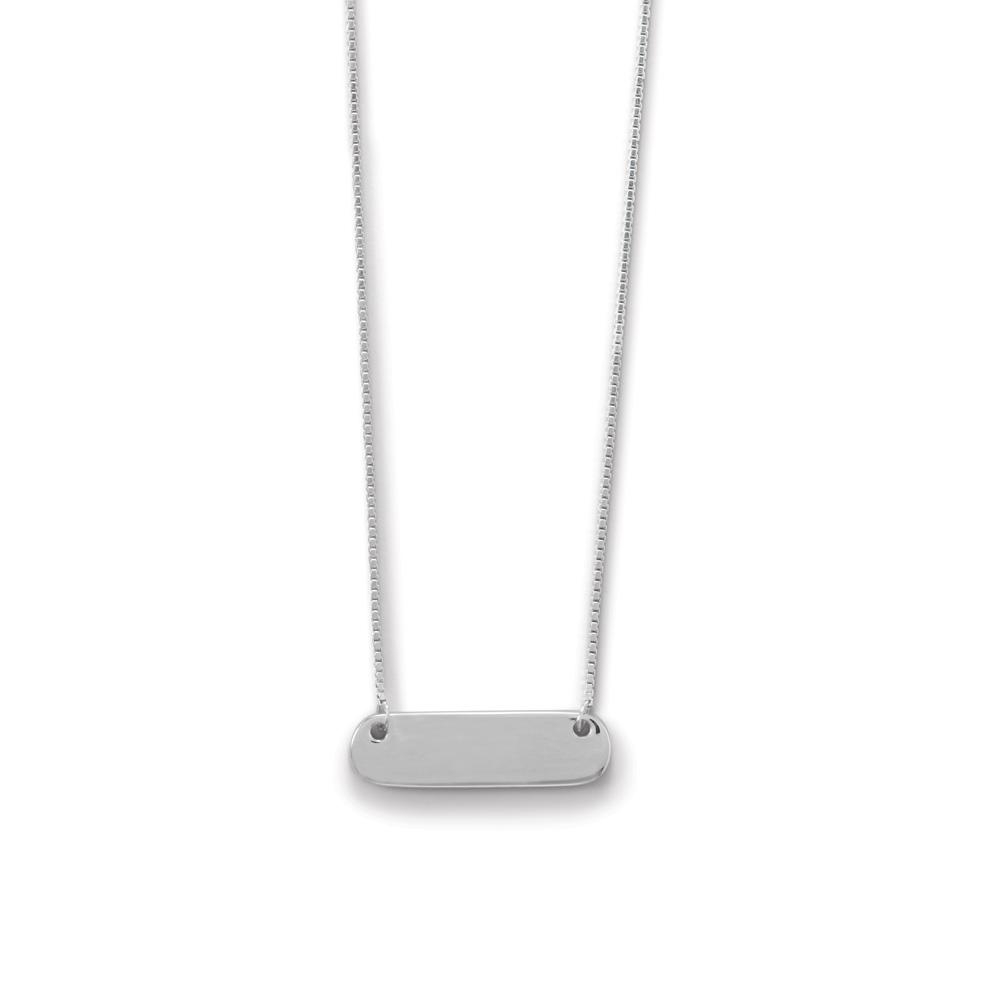 Engravable Rhodium Plated Rounded Bar Necklace