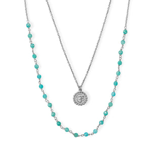 "18""/21""+2"" Rhodium Plated Amazonite Om Necklace"