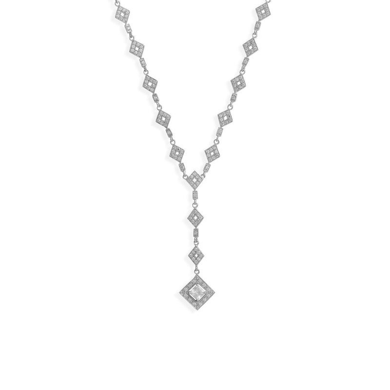"16"" Rhodium Plated CZ Diamond Shape Y Drop Necklace"