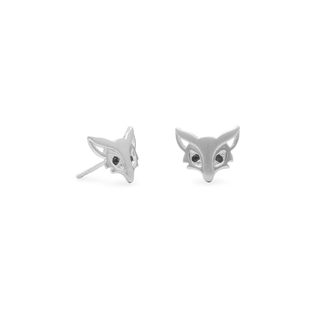 Cute Satin Finish Fox Stud Earrings