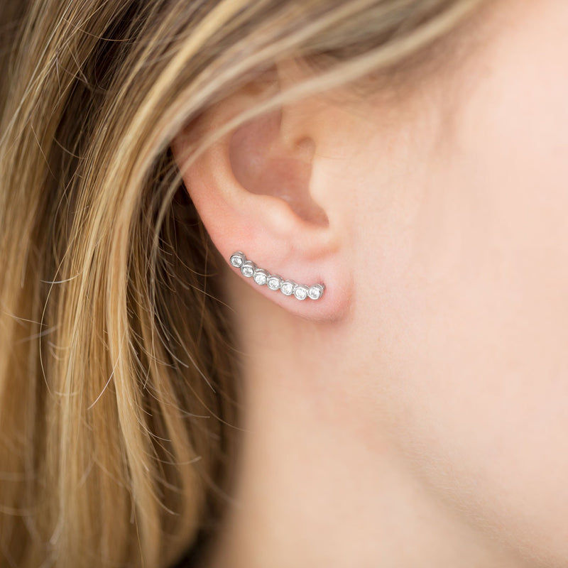 Rhodium Plated Bezel CZ Ear Climbers