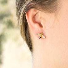 "Load image into Gallery viewer, ""BEE Mine!"" 14 Karat Gold Plated Signity CZ Bee Earrings"